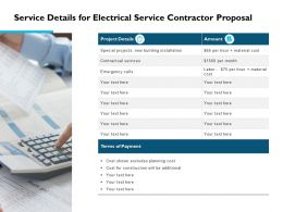 Service Details For Electrical Service Contractor Proposal Ppt Slides