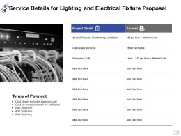 Service Details For Lighting And Electrical Fixture Proposal Ppt Powerpoint Presentation Gallery