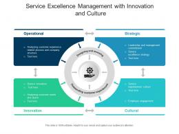 Service Excellence Management With Innovation And Culture