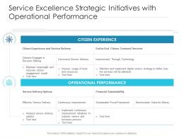 Service Excellence Strategic Initiatives With Operational Performance