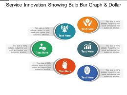 Service Innovation Showing Bulb Bar Graph And Dollar