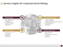 Service Insights For Corporate Event Filming Ppt Inspiration