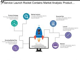 Service Launch Rocket Contains Market Analysis Product Strategy Execute Plan And Monitor