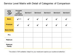 Service Level Matrix With Detail Of Categories Of Comparison