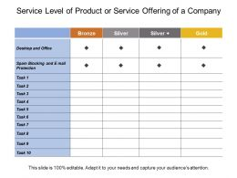 Service Level Of Product Or Service Offering Of A Company