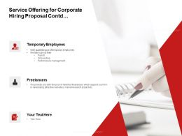 Service Offering For Corporate Hiring Proposal Contd Ppt Powerpoint Presentation Icon