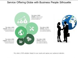 Service Offering Globe With Business People Silhouette