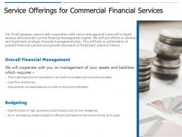 Service Offerings For Commercial Financial Services Ppt Powerpoint Presentation Outline Portrait