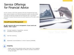 Service Offerings For Financial Advice Ppt Powerpoint Presentation Charts