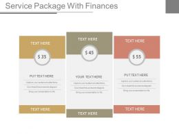 Service Package With Finances Ppt Slides