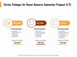 Service Packages For Human Resource Automation Proposal System Ppt Demonstration
