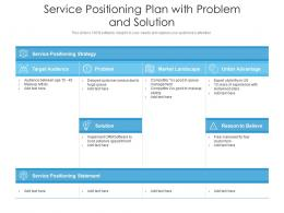 Service Positioning Plan With Problem And Solution