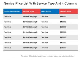 Service Price List With Service Type And 4 Columns