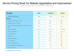 Service Pricing Sheet For Website Upgradation And Improvement