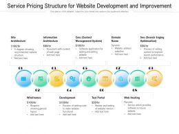 Service Pricing Structure For Website Development And Improvement