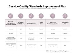 Service Quality Standards Improvement Plan