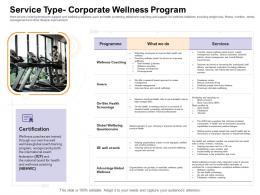 Service Type Corporate Wellness Program How Enter Health Fitness Club Market Ppt Professional