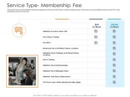 Service Type Membership Fee Health And Fitness Clubs Industry Ppt Introduction