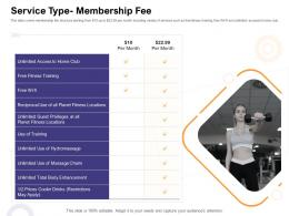Service Type Membership Fee How Enter Health Fitness Club Market Ppt Inspiration Visual Aids