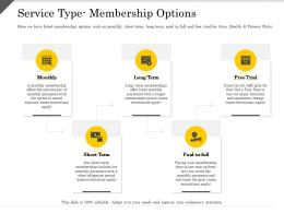 Service Type Membership Options Locations Ppt Powerpoint Presentation Professional Format Ideas