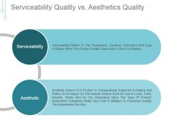 Serviceability Quality Vs Aesthetics Quality Ppt Infographics