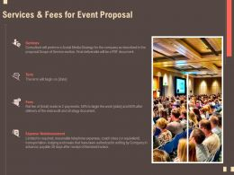 Services And Fees For Event Proposal Reimbursement Ppt Powerpoint Presentation
