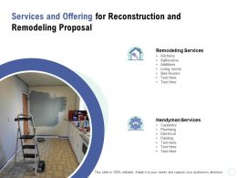 Services And Offering For Reconstruction And Remodeling Proposal Ppt Powerpoint Presentation File