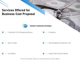 Services Offered For Business Cost Proposal Ppt Powerpoint Presentation Ideas