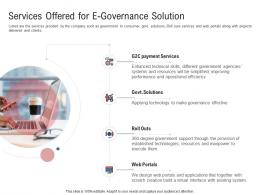 Services Offered For E governance Solution Electronic Government Processes Ppt Infographics