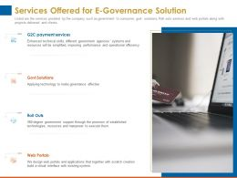 Services Offered For E Governance Solution Payment Services Ppt Powerpoint Presentation Icon