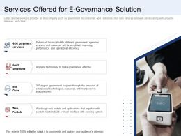 Services Offered For E Governance Solution Ppt Icon Templates