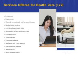 Services Offered For Health Care Companionship Ppt Powerpoint Presentation Slides Outline