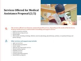Services Offered For Medical Assistance Proposal Ppt Powerpoint Presentation File