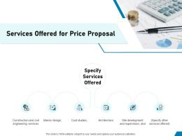 Services Offered For Price Proposal Ppt Powerpoint Presentation Inspiration Slideshow
