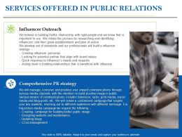 Services Offered In Public Relations Ppt Powerpoint Presentation Ideas Graphics