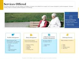 Services Offered Retirement Analysis Ppt Infographics Design Templates
