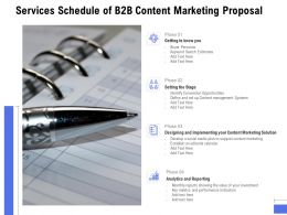 Services Schedule Of B2B Content Marketing Proposal Ppt Powerpoint Presentation Model