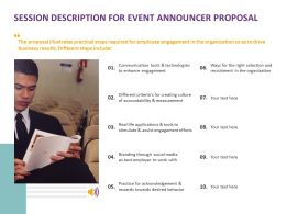 Session Description For Event Announcer Proposal Ppt Powerpoint Slides