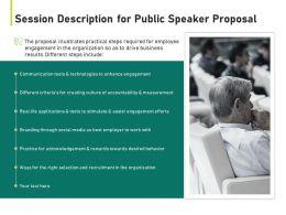 Session Description For Public Speaker Proposal Ppt Powerpoint Presentation Visual Aids Styles