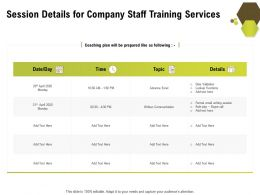 Session Details For Company Staff Training Services Ppt Professional Deck