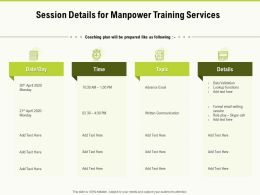 Session Details For Manpower Training Services Ppt Powerpoint Presentation Summary Display