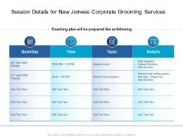 Session Details For New Joinees Corporate Grooming Services Ppt Powerpoint Ideas