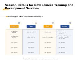 Session Details For New Joinees Training And Development Services Ppt Design Ideas