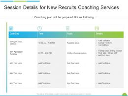 Session Details For New Recruits Coaching Services Ppt Powerpoint Presentation Professional Visual Aids