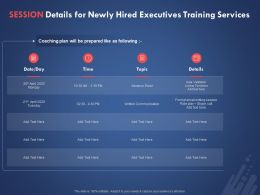 Session Details For Newly Hired Executives Training Services Ppt Powerpoint Presentation File Picture