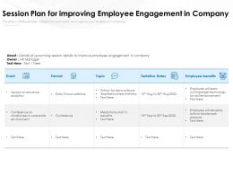 Session Plan For Improving Employee Engagement In Company
