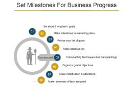 Set Milestones For Business Progress Powerpoint Images
