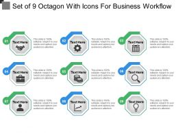Set Of 9 Octagon With Icons For Business Workflow