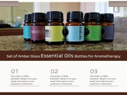 Set Of Amber Glass Essential Oils Bottles For Aromatherapy