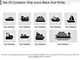 Set Of Container Ship Icons Black And White